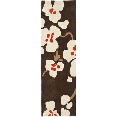 Modern Art Brown/Ivory Rug Rug Size: Runner 23 x 8