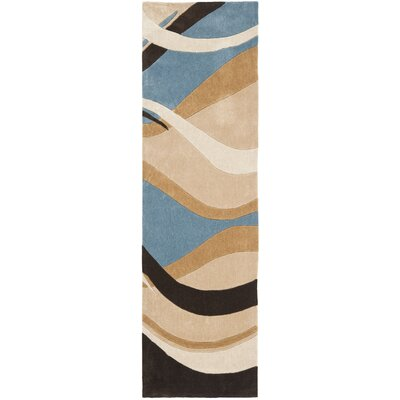 Modern Art Blue/Brown Rug Rug Size: Runner 23 x 8
