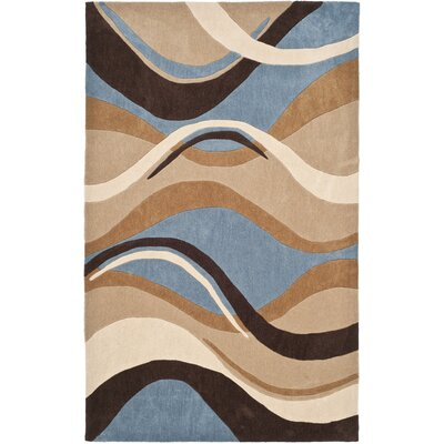 Modern Art Blue/Brown Rug Rug Size: 5 x 8