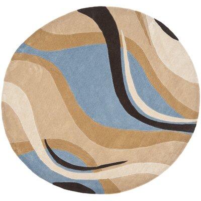 Modern Art Blue/Brown Rug Rug Size: Round 7
