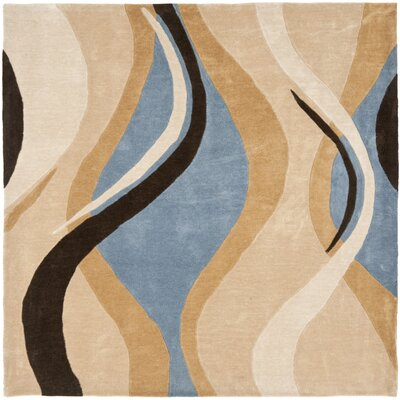 Modern Art Blue/Brown Rug Rug Size: Square 7