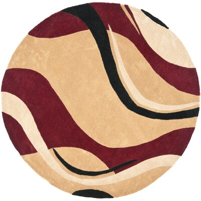 Modern Art Rust/Ivory Rug Rug Size: Round 7