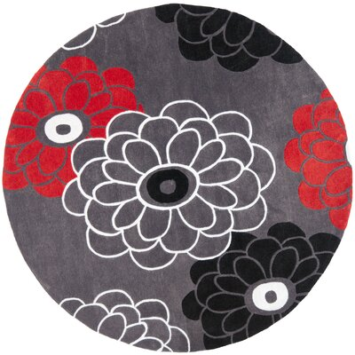 Modern Art Dark Grey/Multi Rug Rug Size: Round 7