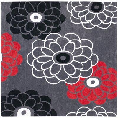 Modern Art Dark Grey/Multi Rug Rug Size: Square 7