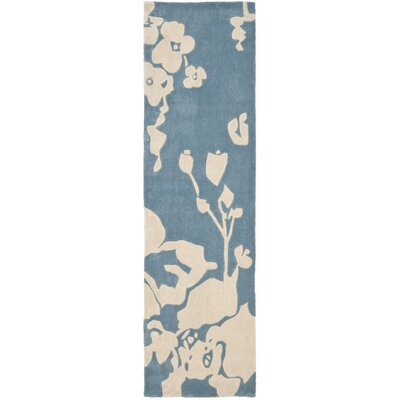 Modern Art Blue/Ivory Rug Rug Size: Runner 23 x 8