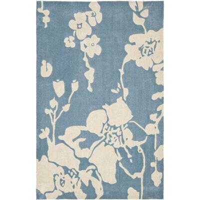 Modern Art Blue/Ivory Rug Rug Size: Rectangle 8 x 10