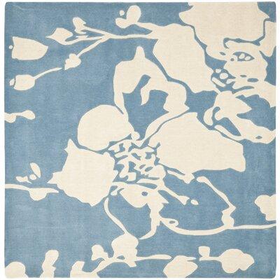 Modern Art Blue/Ivory Rug Rug Size: Square 7