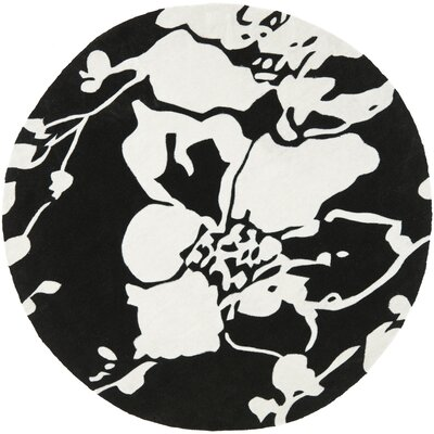 Modern Art Black/Ivory Rug Rug Size: Round 7