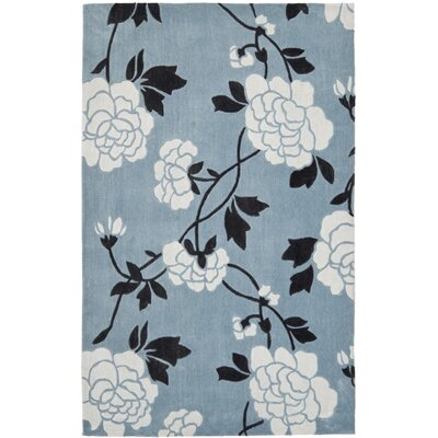 Modern Art Blue/Ivory Rug Rug Size: 5 x 8