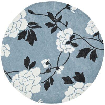 Modern Art Blue/Ivory Rug Rug Size: Round 7