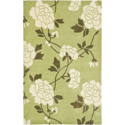 Modern Art Green/Ivory Rug Rug Size: 5 x 8