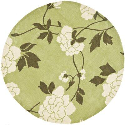 Modern Art Green/Ivory Rug Rug Size: Round 7