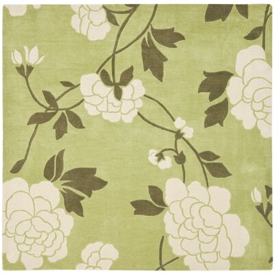 Modern Art Green/Ivory Rug Rug Size: Square 7