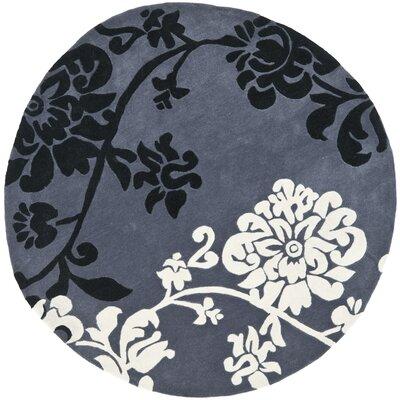 Modern Art Dark Grey/Multi Rug Rug Size: Round 7