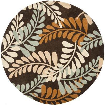 Modern Art Brown/Multi Rug Rug Size: Round 7