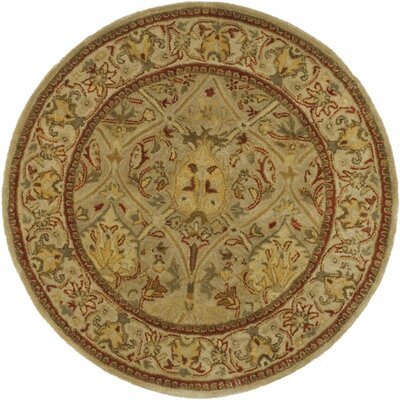 Empress Hand Tufted Wool Moss/Beige Area Rug Rug Size: Round 6