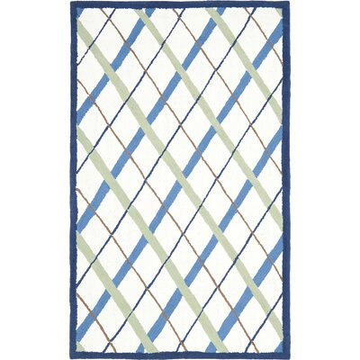 Claro Plaid Ivory / Blue Rug Size: 3 x 5