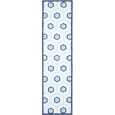 Claro Blue/Ivory Area Rug Rug Size: Runner 23 x 9