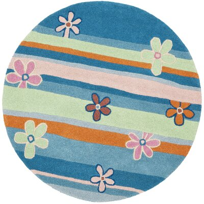 Claro Striped Blue / Multi Rug Size: Round 6