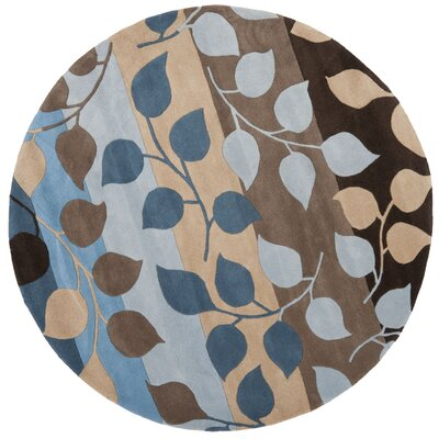 Soho Brown / Blue Rug Rug Size: Round 6