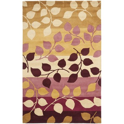 Soho Red / Gold Rug Rug Size: 5 x 8