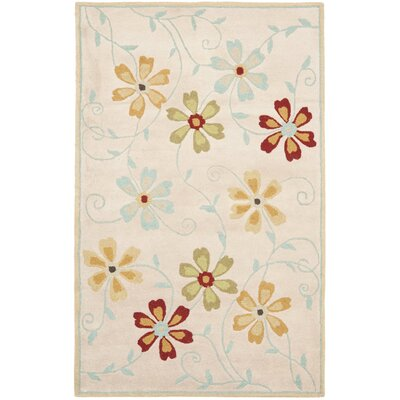 Blossom Floral Design Beige / Multi Contemporary Rug Rug Size: Rectangle 5 x 8
