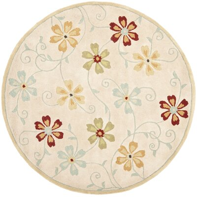Blossom Floral Design Beige / Multi Contemporary Rug Rug Size: Round 6