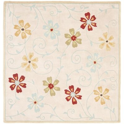Blossom Floral Design Beige / Multi Contemporary Rug Rug Size: Square 6