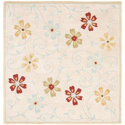 Blossom Floral Design Beige / Multi Contemporary Rug Rug Size: Square 6