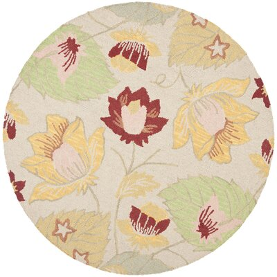 Blossom Wool Ivory / Multi Contemporary Rug Rug Size: Round 6