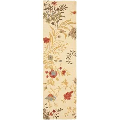 Blossom Flower Beige / Multi Contemporary Rug Rug Size: Runner 23 x 8