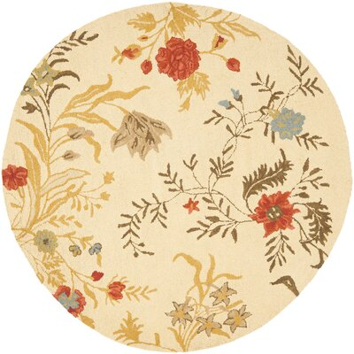 Blossom Flower Beige / Multi Contemporary Rug Rug Size: Round 6