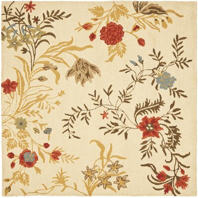 Blossom Flower Beige / Multi Contemporary Rug Rug Size: Square 6