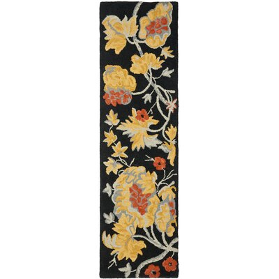 Blossom Wool Black / Multi Contemporary Rug Rug Size: Runner 23 x 8