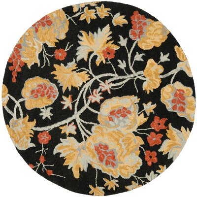 Blossom Wool Black / Multi Contemporary Rug Rug Size: Round 6