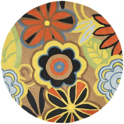Soho Floral Brown / Multi Contemporary Rug Rug Size: Round 6