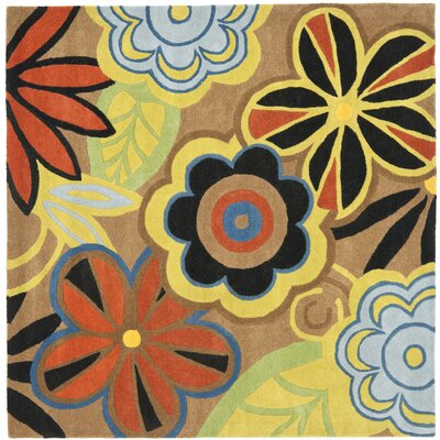 Soho Floral Brown / Multi Contemporary Rug Rug Size: Square 6