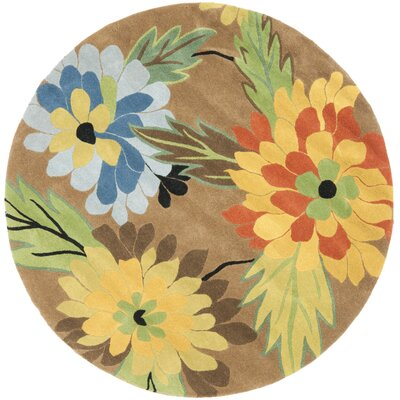 Soho Hand-Tufted Brown / Multi Contemporary Rug Rug Size: Round 6
