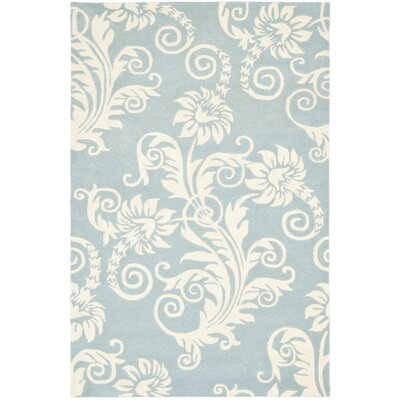 Soho Dark Blue / Ivory Contemporary Rug Rug Size: 36 x 56