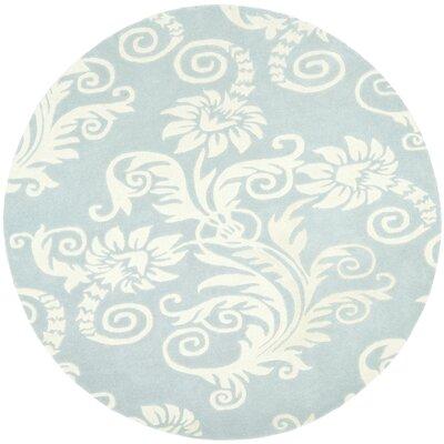 Soho Blue / Ivory Contemporary Rug Rug Size: Round 6