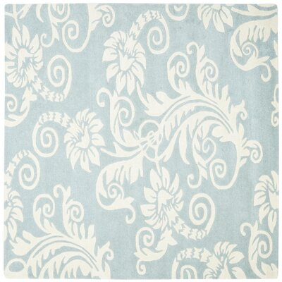 Soho Blue / Ivory Contemporary Rug Rug Size: Square 6