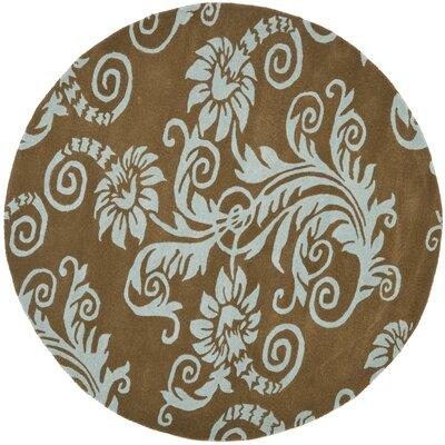 Soho Light Brown / Light Blue Contemporary Rug Rug Size: Round 6'