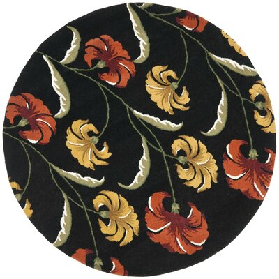 Soho Light Black / Multi Contemporary Rug Rug Size: Round 6