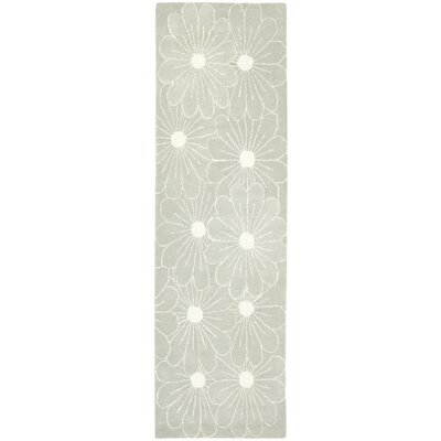 Soho Blue / Dark Ivory Contemporary Rug Rug Size: Runner 26 x 8
