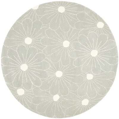 Soho Blue / Dark Ivory Contemporary Rug Rug Size: Round 6