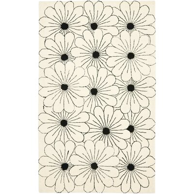 Soho Ivory / Black Contemporary Rug Rug Size: Rectangle 5 x 8