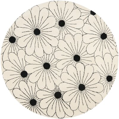 Soho Ivory / Black Contemporary Rug Rug Size: Round 6