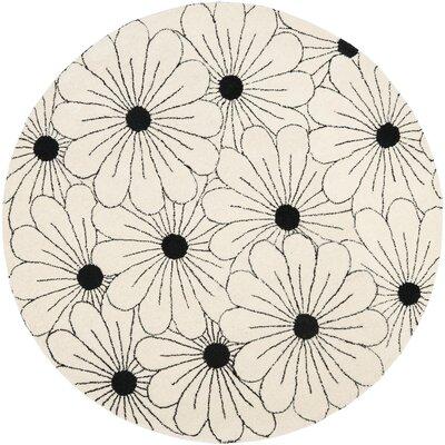 Soho Ivory / Black Contemporary Rug Rug Size: Round 6