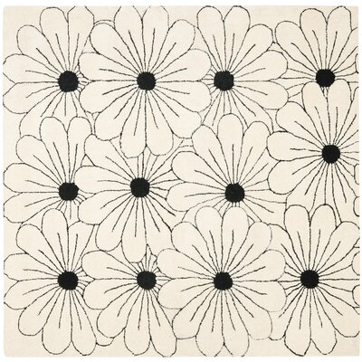 Soho Ivory / Black Contemporary Rug Rug Size: Square 6