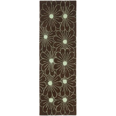 Soho Light Brown / Teal Contemporary Rug Rug Size: Runner 26 x 8